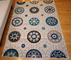 Traditional Ivory Blue Circle Floral Abstract Area Rugs
