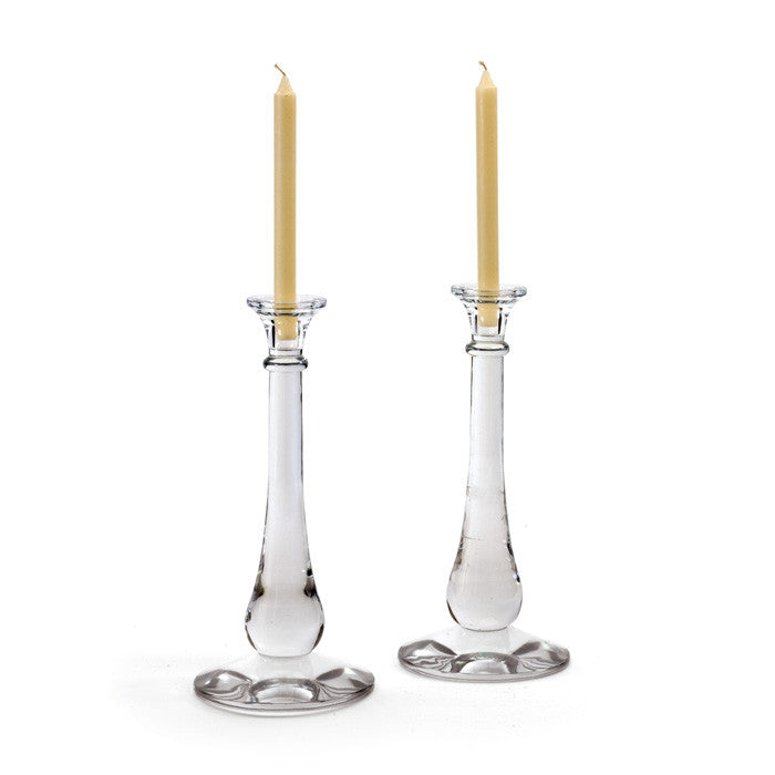 Pair of Glass Tear Drop Candlesticks