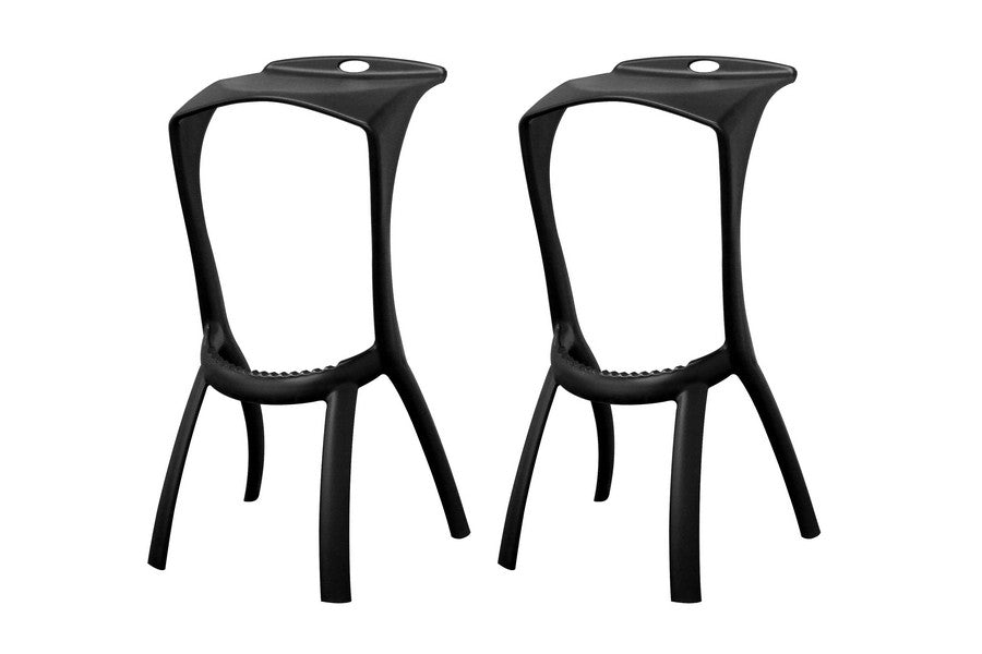 Baxton Studio Zinley Black Molded Plastic Modern Bar Stool in Set of 2
