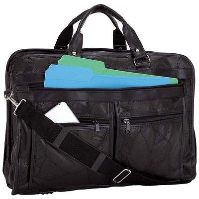 New Black Leather Messenger Laptop Shoulder Bag Briefcase Attache Case Portfolio