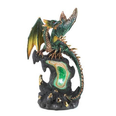 Jade-Fire Geode Dragon Figurine
