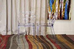 Baxton Studio Honeycomb Acrylic Dining Chair in Set of 2