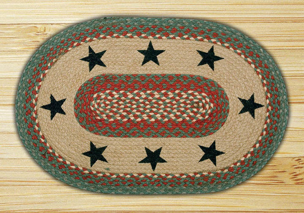 Green Stars Oval Patch Rug