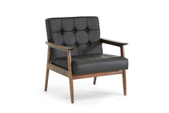 Baxton Studio Stratham Black Mid-Century Modern Club Chair