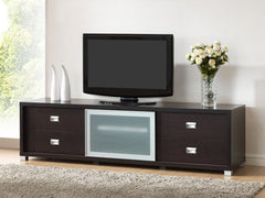 Baxton Studio Botticelli Brown TV Stand with Frosted Glass Door