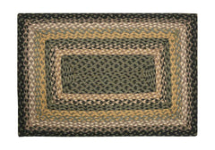 Black/Mustard/Creme Braided Rug In Different Shapes And Sizes