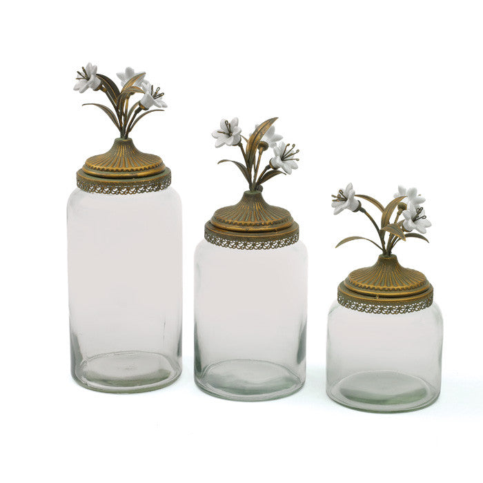 Set of Three Flowering Canister