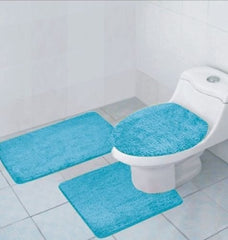 3 Pcs Bathroom Rug, Contour Rug and Lid Cover Set