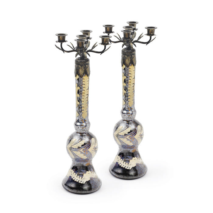 Pair of Glass Harston Candlesticks