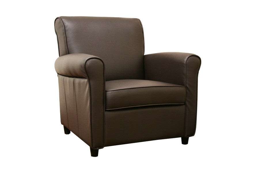Baxton Studio Brown Full Leather Club Chair