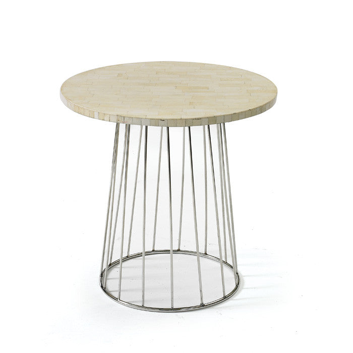 Pins Table with Polished Nickel with White Top