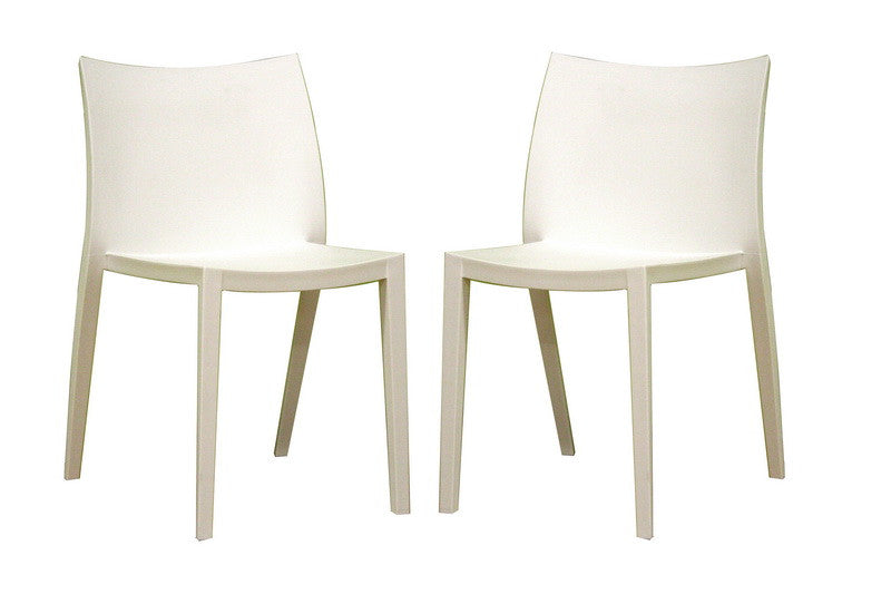 Baxton Studio Odele White Plastic Chair Set of Two