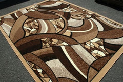 New Area Rug Beige Brown Modern Square