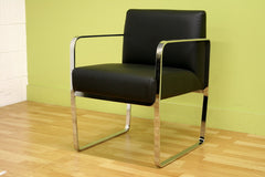 Baxton Studio Meg Black Leather Chair