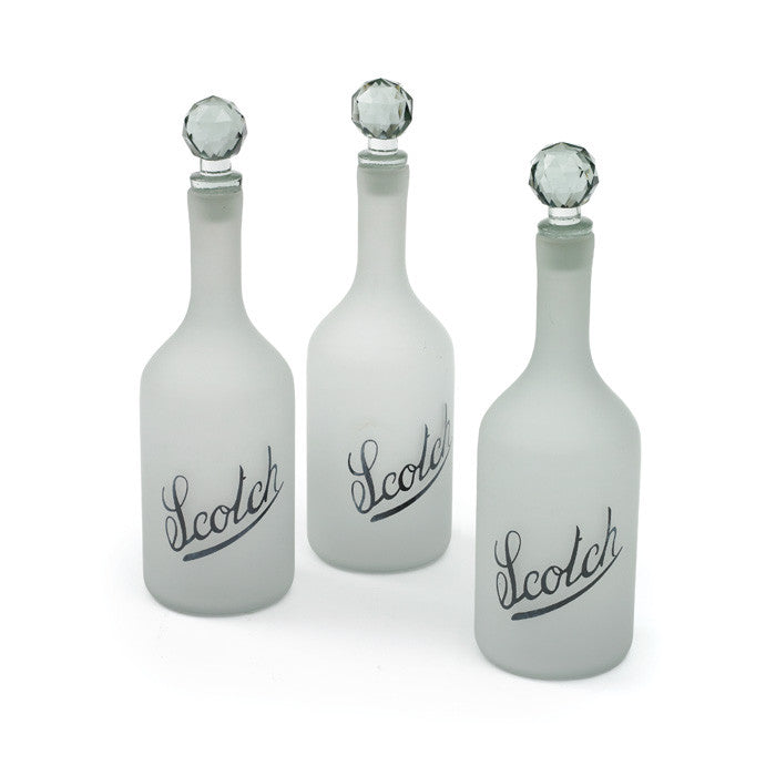 Glass Scotch Bottles-Set of Three