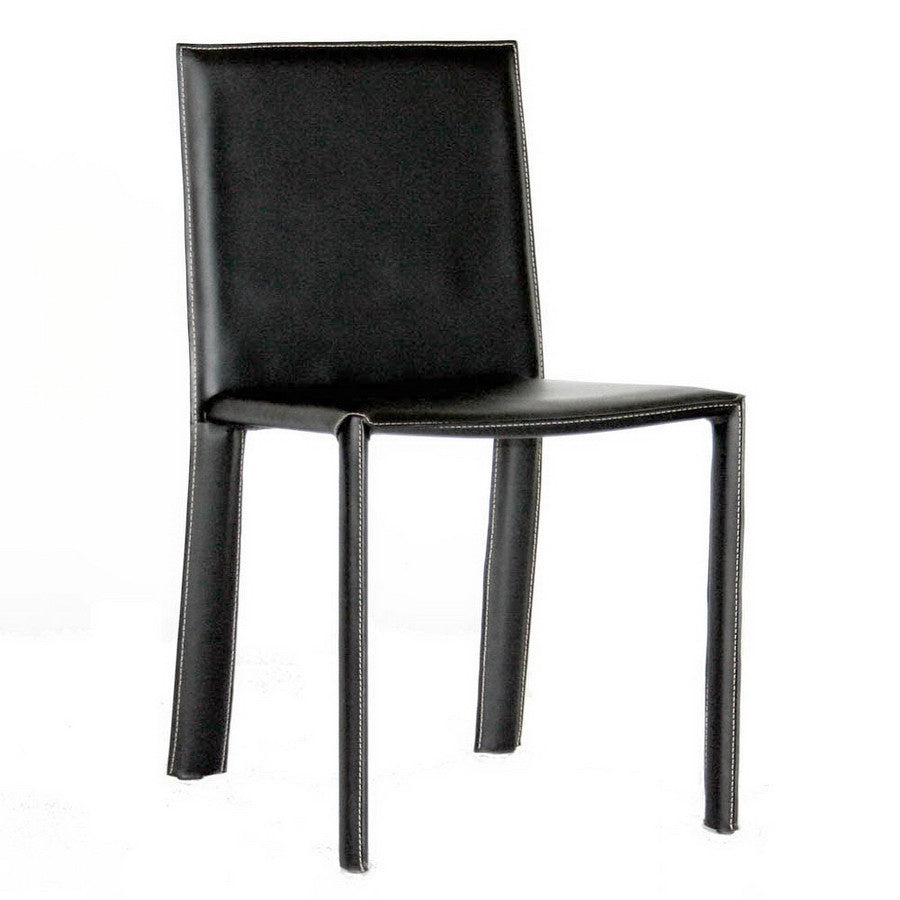 Baxton Studio Regal Black Leather Dining Chair