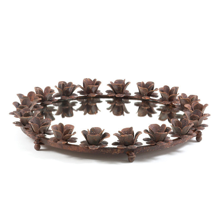 Iron Rose Round Mirrored Tray