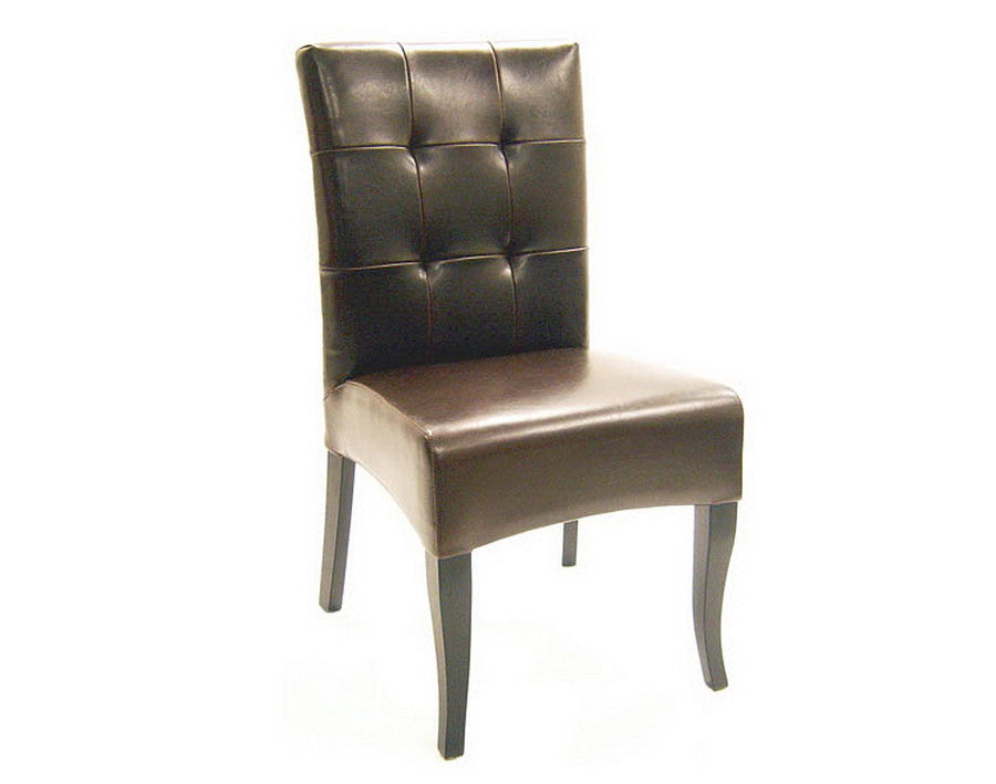 Baxton Studio Dark Brown Tufted Leather Dining Chair