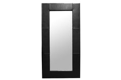 Baxton Studio Corsica Black Leather Floor Mirror