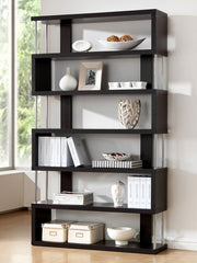 Baxton Studio Barnes Dark Brown Six-Shelf Modern Bookcase