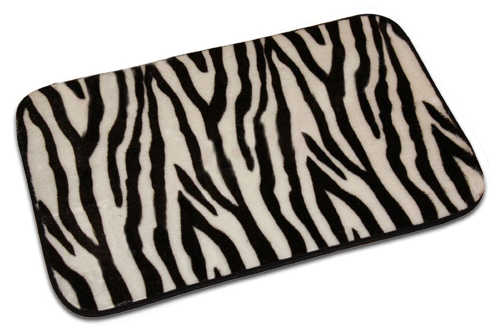 Animal Design Zebra Bath Mat, Foam Plush Rug, Non-slip, Zebra Black & White Design