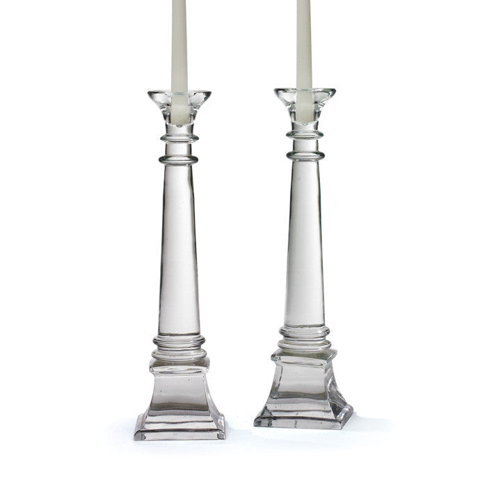 Pair Of Glass Fontaine Candlesticks