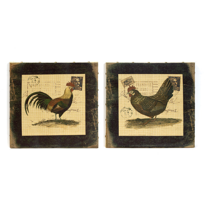 Set of Two Rooster Postcard Wall Hangings