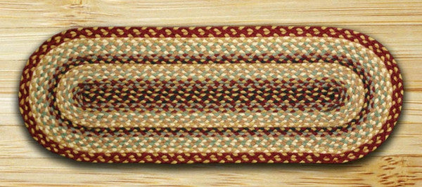 Burgundy/Gray/Creme Jute Table Runner