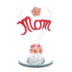 Mother' Tribute Glass Heart Figurine