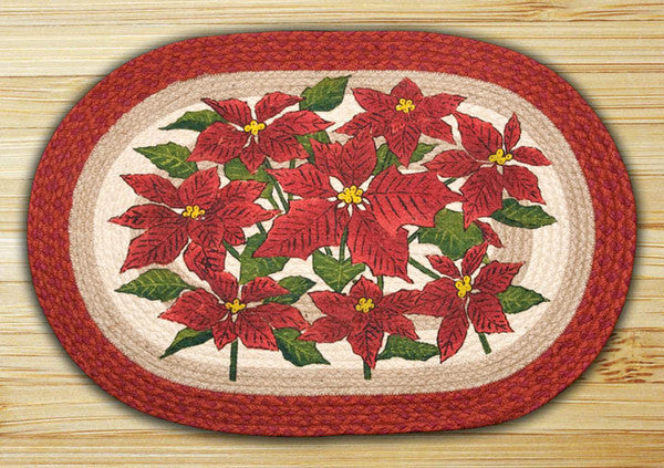 Poinsettia Oval Patch Rug