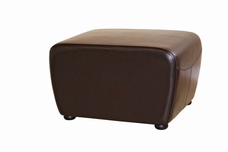 Baxton Studio Full Leather Ottoman with Rounded Sides