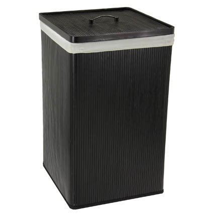 Black Bamboo Hamper with Lid