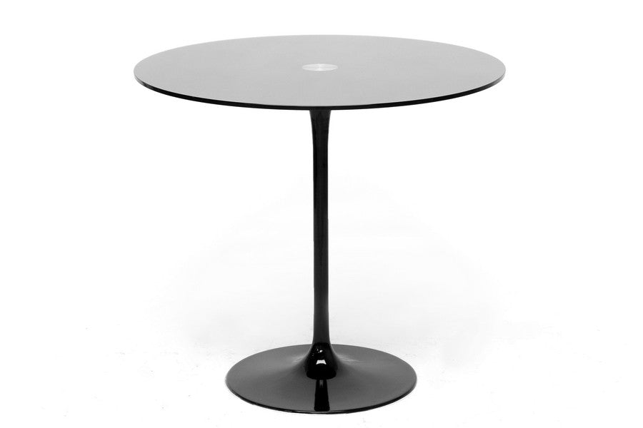 Baxton Studio Odensa Black Glass Modern Bistro Table
