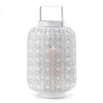 Tall White Lace Design Candle Lamp