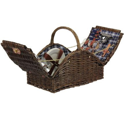 Willow Picnic Basket Fully Lined Service for Four