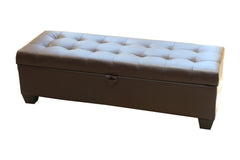Mission Brown Tufted Leather Storage Ottoman Bench