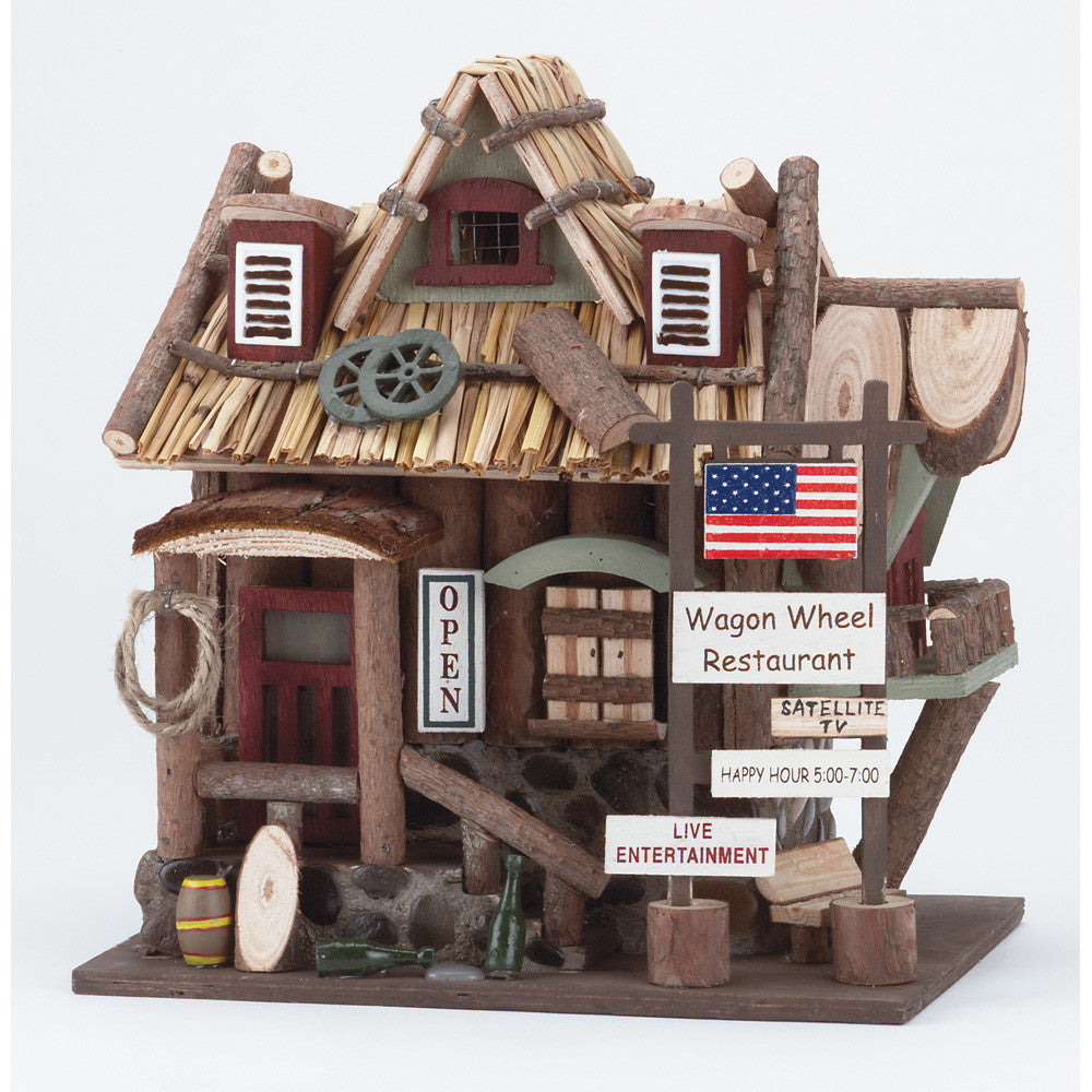 Wood Wagon Wheel Restaurant Birdhouse