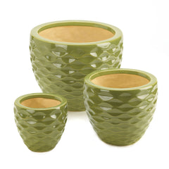 Green Faceted Planter Trio