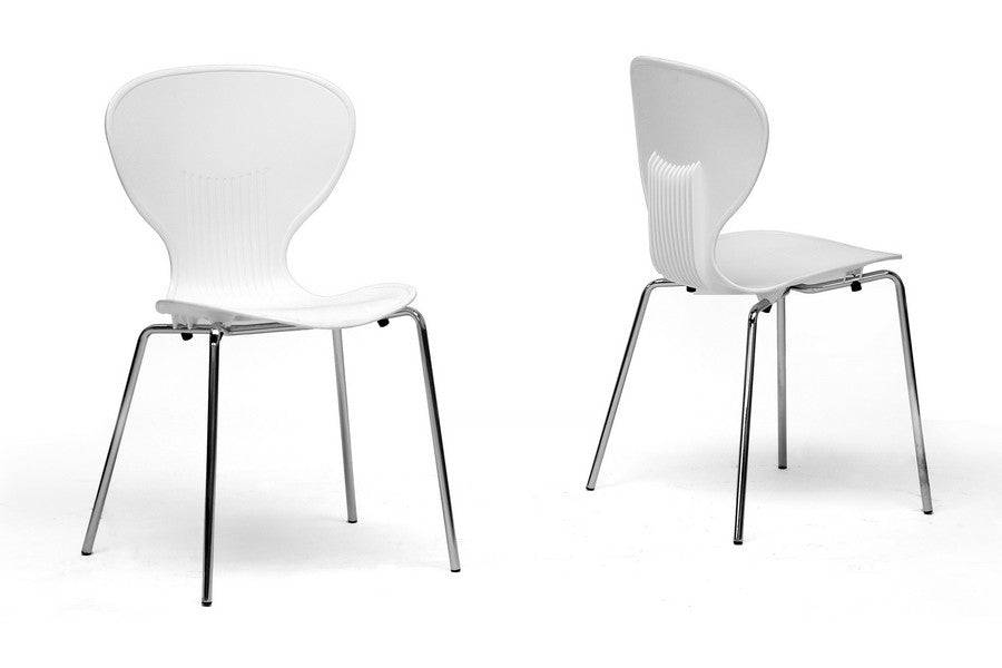 Baxton Studio Boujan White Plastic Modern Dining Chair in Set of 2