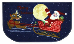 Christmas Kitchen Rug, Latex Back, Santa/Reindeer Design