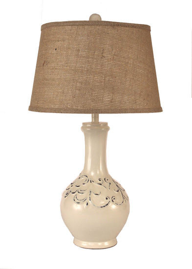 Tear Drop Pot W/Flor De Lis Table Lamp