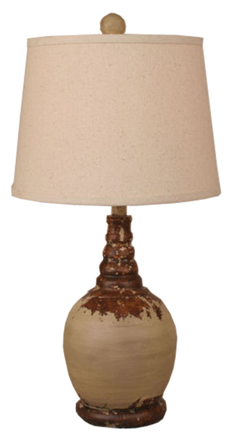 Brown Aged Cottage Shade Table Lamp