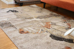 New Traditional Beige Floral Square Abstract Area Rugs
