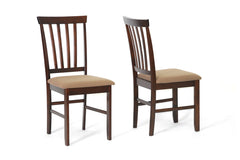 Baxton Studio Tiffany Brown Dining Chair in Set of 2