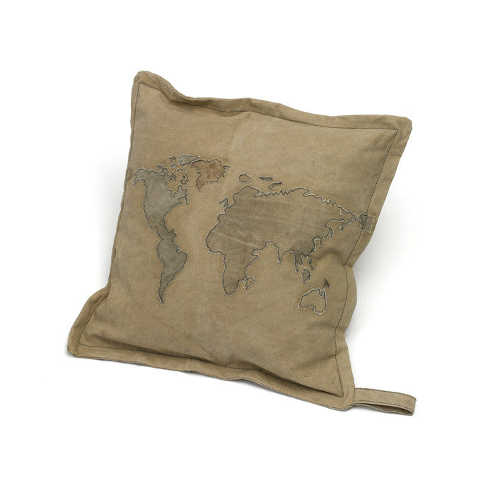 Square World Map Pillow