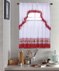 Kitchen Curtain Set, Complete Tier & Swag Set, Spring Fruit Pattern