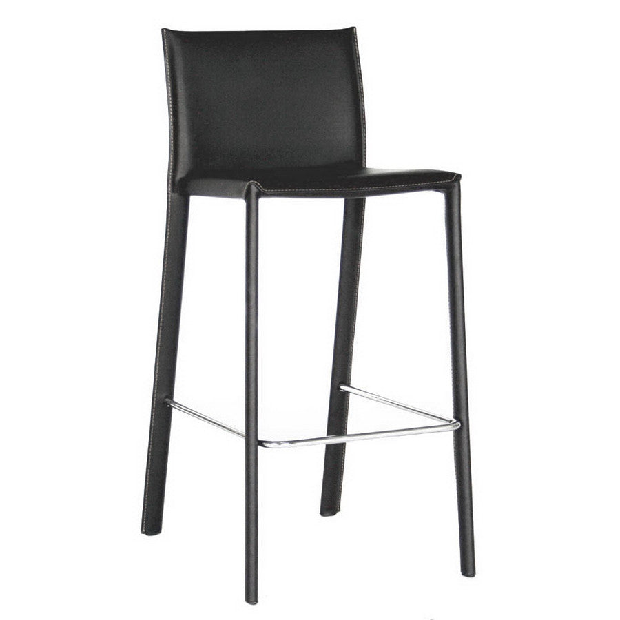 Baxton Studio Crawford Leather Counter Height Stool