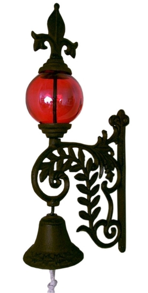Cast Iron Bell W RED Glass Gazing Ball
