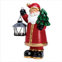 Homespun Santa Holding Mini Lantern