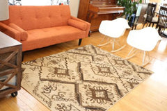New Beige Blocks Squares Modern Wool Blend Area Rugs